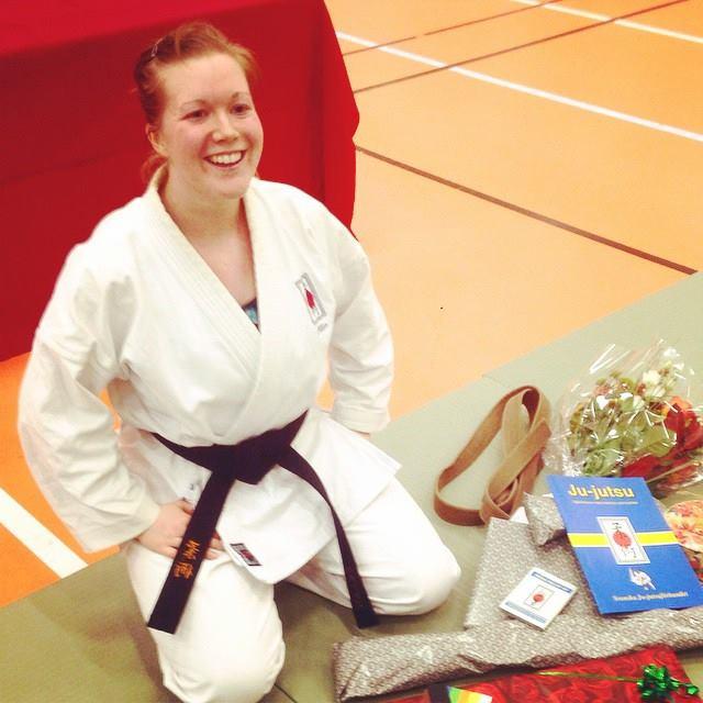 Cecilia Bergdahl efter genomförd 1.a dans gradering på Bosön